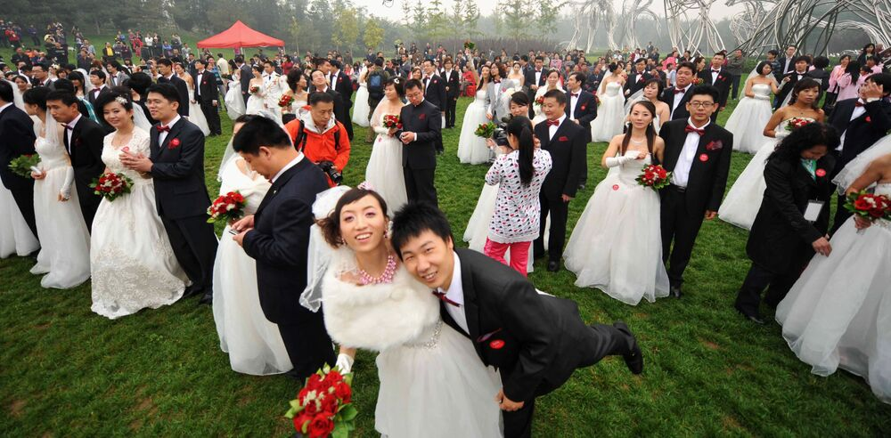 Zbiorowa ceremonia ślubna w Chinach.
