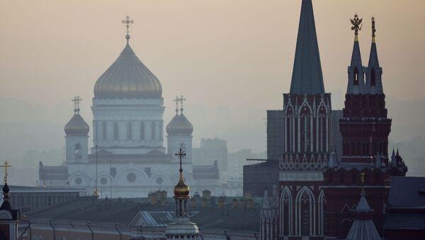 Widok na centrum Moskwy z dachu sklepu na Łubiance - Sputnik Polska