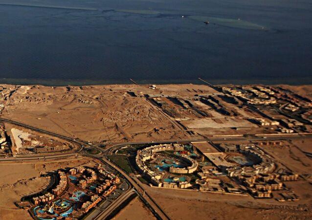 Cieśnina Tirańska oddzielająca Zatokę Akaba od pozostałej części Morza Czerwonego