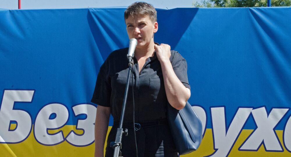 Nadieżda Sawczenko na mitingu w Odessie.