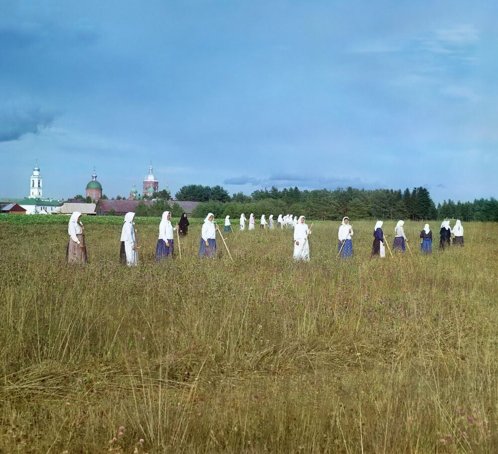 Gubernia nowogorodzka. Czerepowieckij ujezd. Leuszyński klasztor. Klasztorne sianokosy