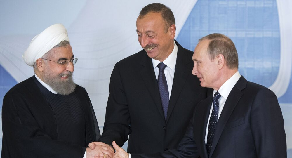 Prezydenci Iranu, Rosji i Azerbejdżanu, Hasan Rouhani, Władimir Putin i Ilham Alijew