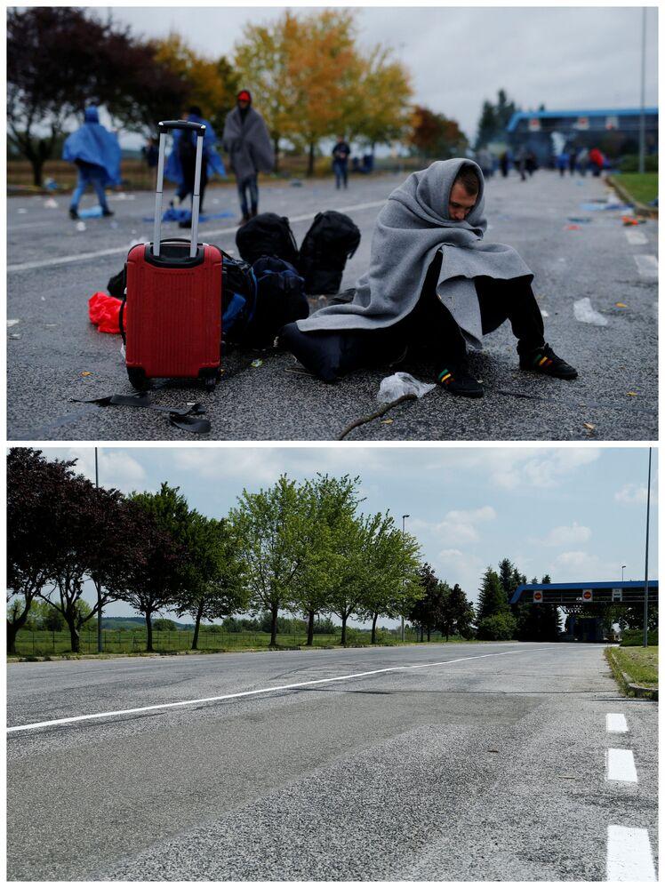 Emigranci na chorwacko-słoweńskiej granicy w październiku 2015 roku i to samo miejsce  w maju 2016.