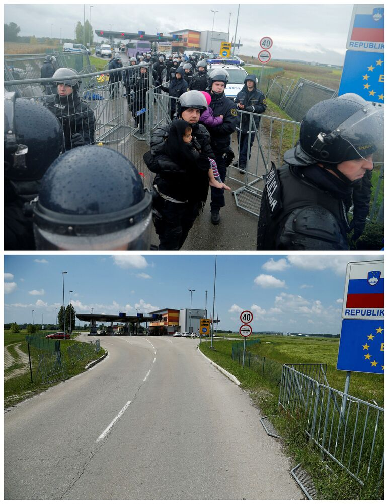 Policjanci kontrolują przedostawanie się emigrantów z Chorwacji na Słowenię w październiku 2015 i to samo miejsce w maju 2016.