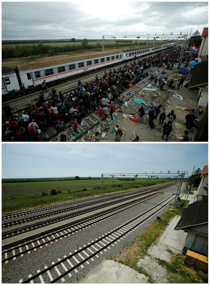 Emigranci na stacji kolejowej Tovarnik  w Chorwacji we wrześniu 2015 roku i to samo miejsce w maju 2016.