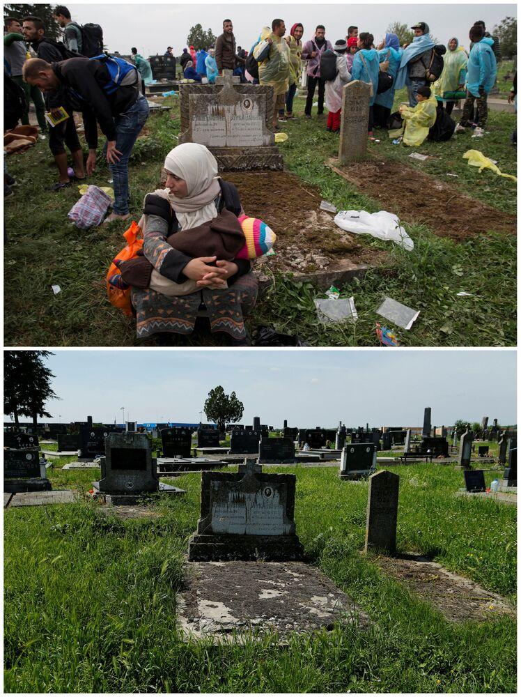 Emigranci na cmentarzu przy stacji kolejowej Tovarnik w Chorwacji we wrześniu 2015 roku i to samo miejsce w maju 2016.