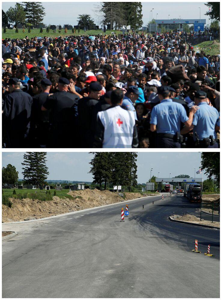 Policjanci i emigranci czekający na autobus na granicy między Serbią i Chorwacją we wrześniu 2015 i to samo miejsce w maju 2016.