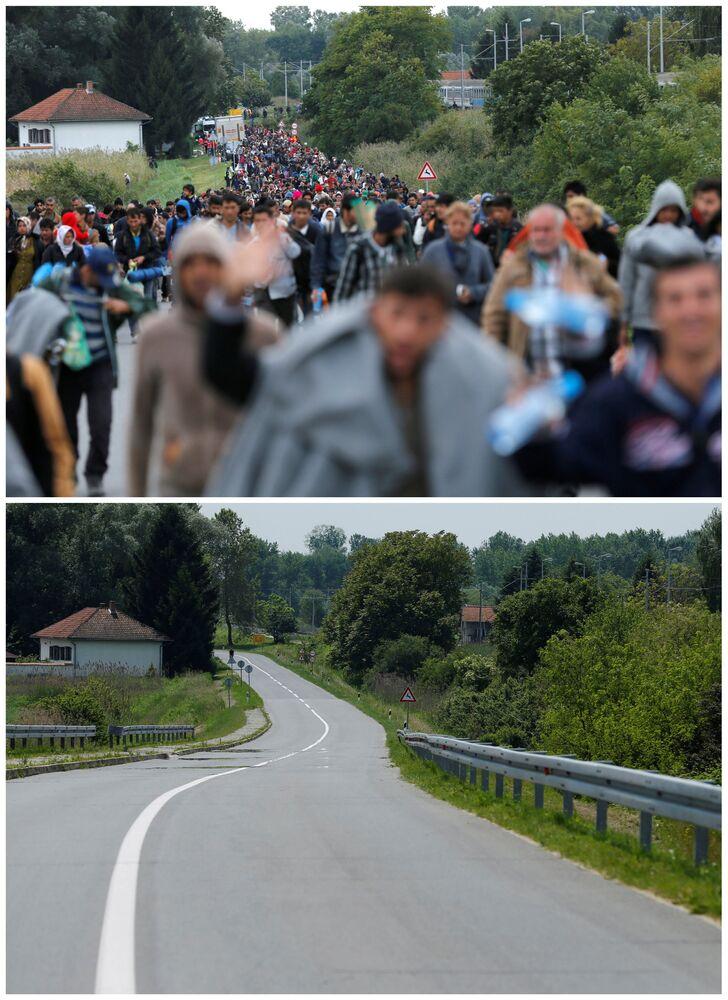 Emigranci idą w kierunku granicy chorwacko-węgierskiej po przybyciu pociągiem na stację kolejową Botovo we wrześniu 2015 i to samo miejsce w maju 2016.