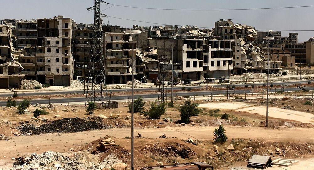 Zniszczone budynki w Aleppo, Syria