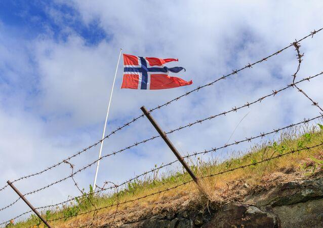 Flaga Norwegii na granicy