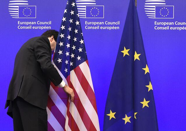 Flagi UE i USA