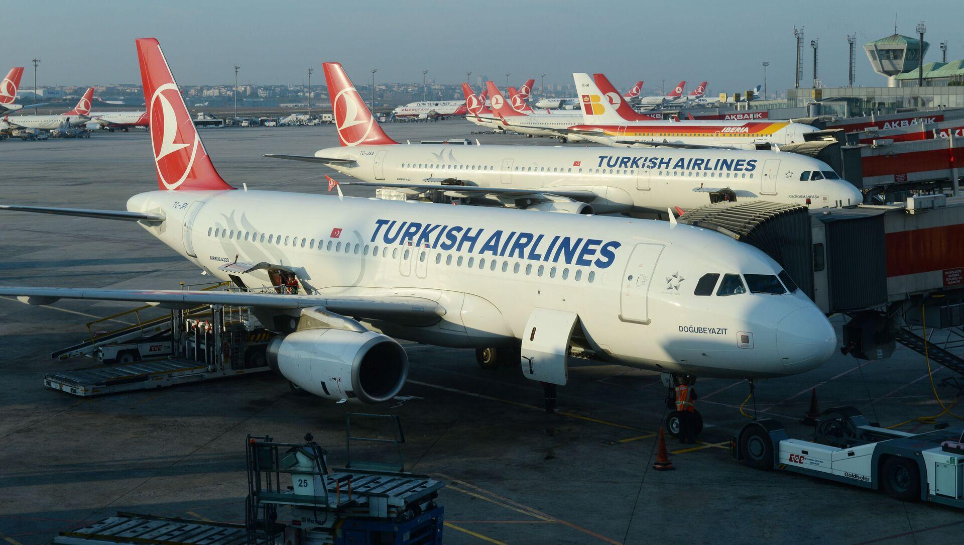 Samoloty Airbus A320 i A321 linii lotniczych Turkish Airlines na lotnisku Stambuł-Atatürk - Sputnik Polska, 1920, 04.04.2021