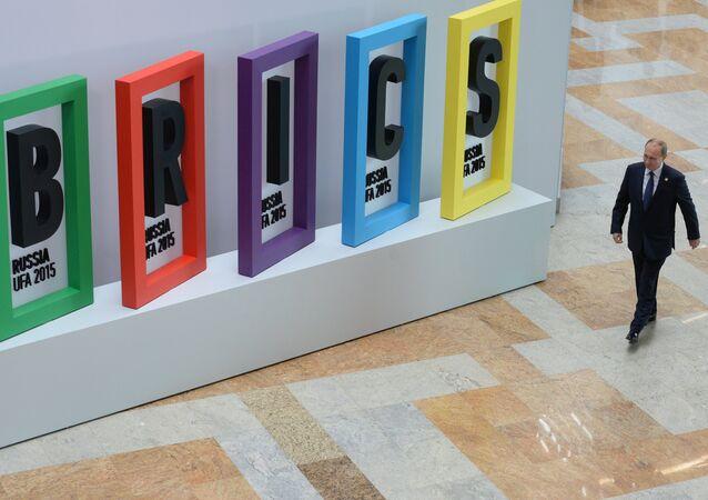 Prezydent Rosji na ceremonii powitalnej spotkania liderów BRICS