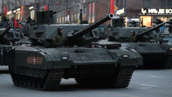 Czołg T-14 Armata podczas próby generalnej Parady Zwycięstwa w Moskwie - Sputnik Polska