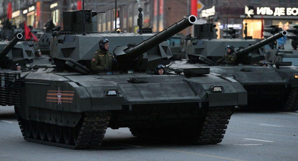 Czołg T-14 Armata podczas próby generalnej Parady Zwycięstwa w Moskwie