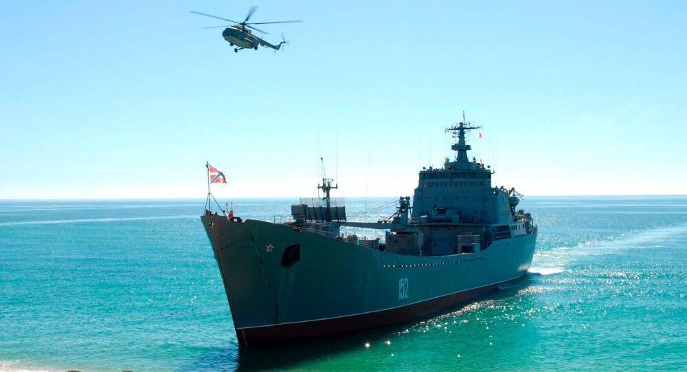 Pochód zgrupowań okrętów Floty Czarnomorskiej Federacji Rosyjskiej we współdziałaniu z grupami lotnictwa i oddziałami floty wojsk przybrzeżnych