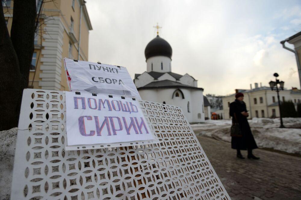Zbiórka pomocy humanitarnej dla Syryjczyków w Marfo-Mariinskim klasztorze w Moskwie.