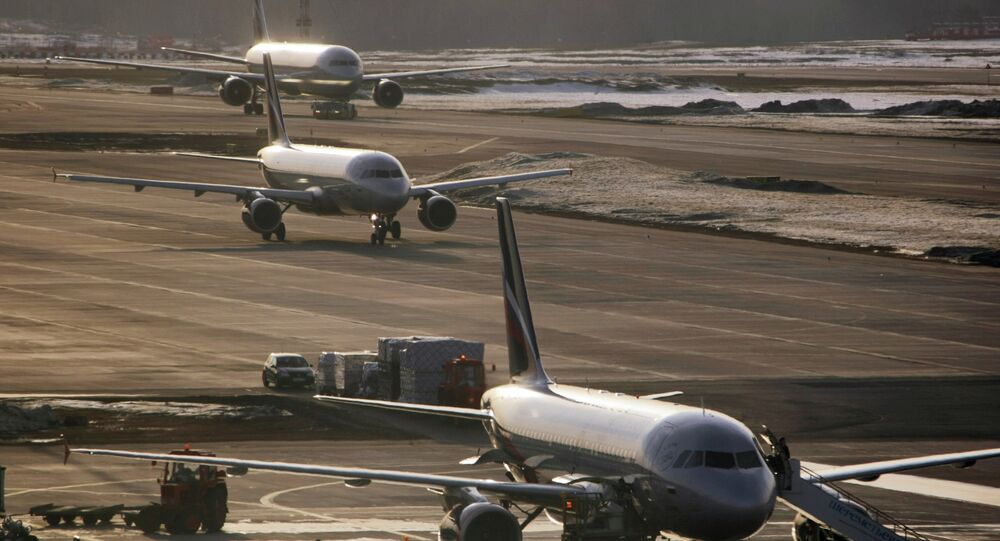 Airbus-319, Airbus-320 and Boeing-767 at Sheremetyevo airport