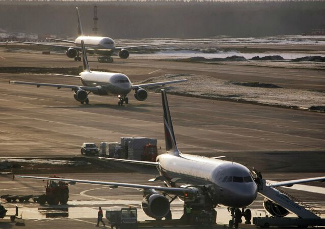 Airbus-319, Airbus-320 and Boeing-767 at Sheremetyevo airport