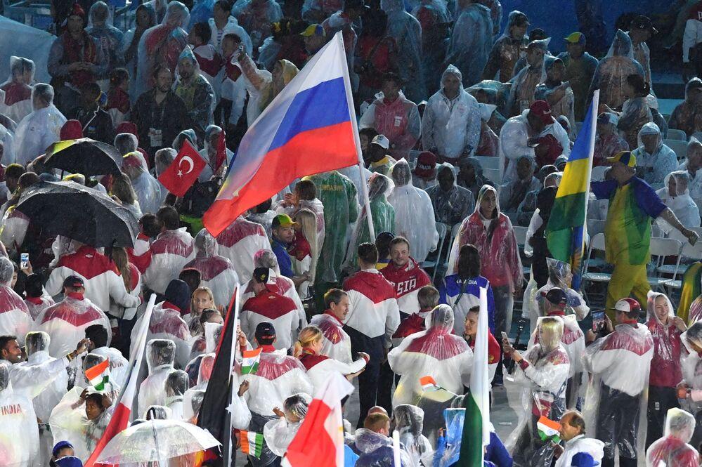 Reprezentacja Rosji podczas ceremonii zamknięcia XXXI Letnich Igrzysk Olimpijskich