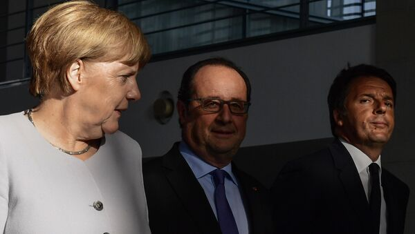 Angela Merkel, Francois Hollande i Matteo Renzi na spotkaniu w Berlinie po ogłoszeniu Brexitu, 27 czerwca 2016 - Sputnik Polska