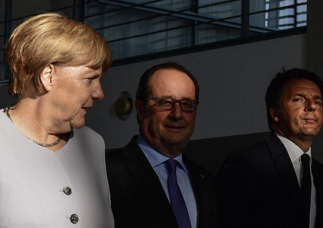 Angela Merkel, Francois Hollande i Matteo Renzi na spotkaniu w Berlinie po ogłoszeniu Brexitu, 27 czerwca 2016