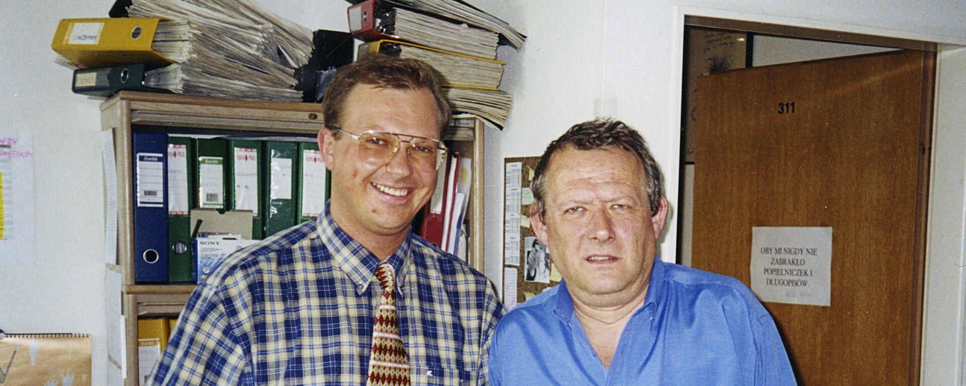 Redaktor naczelny Gazety Wyborczej Adam Michnik i redaktor Leonid Swiridow. Warszawa. - Sputnik Polska, 1920, 24.08.2016
