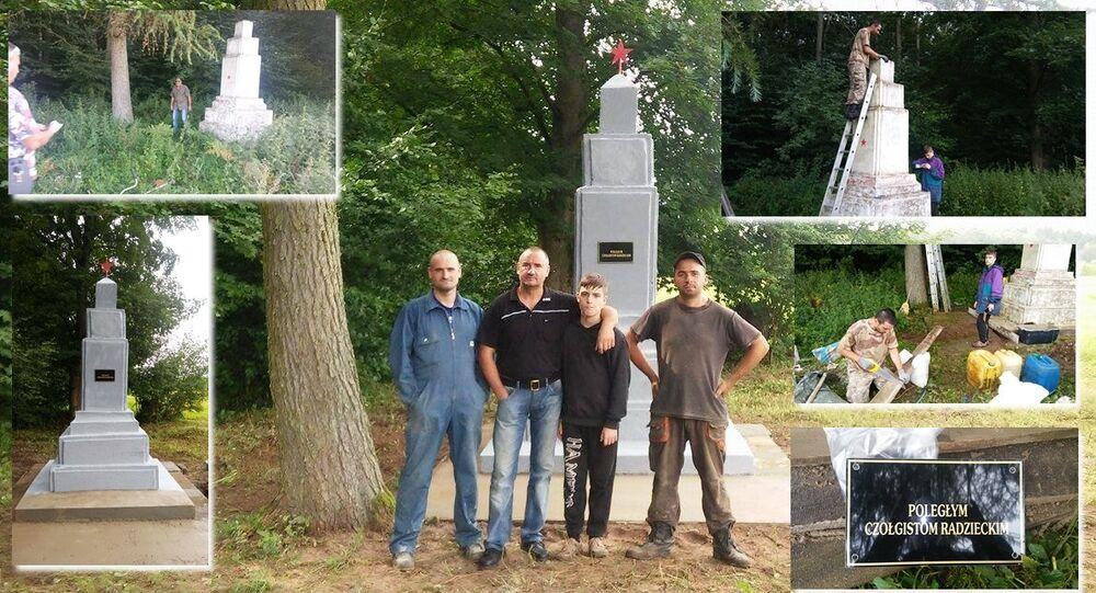 Remont radzieckiego pomnika w Golczewie.