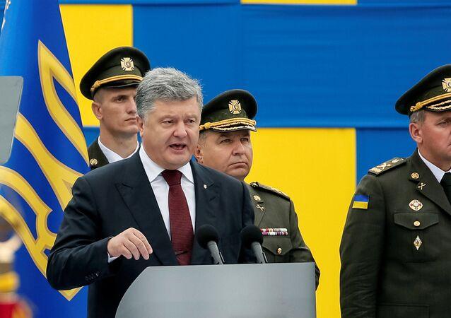 Petro Poroszenko na defiladzie w Kijowie