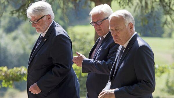 Ministrowie spraw zagranicznych Polski, Niemiec i Francji Witold Waszczykowski, Frank-Walter Steinmeier i Jean-Marc Ayrault - Sputnik Polska