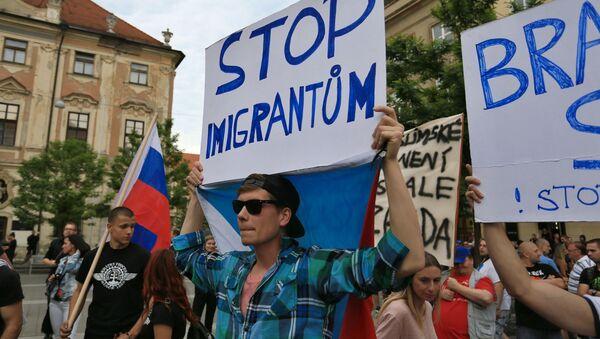 Uczestnicy protestu przeciwko migrantom, Brno, Czechy - Sputnik Polska