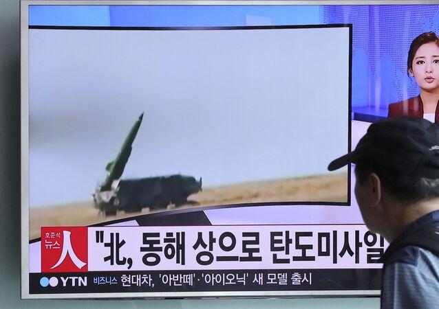 Wiadomości o wystrzeleniu rakiet przez Koreę Północną, Seul.