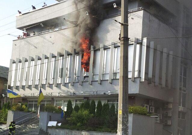 Pożar w budynku kanału telewizyjnego Inter w Kijowie