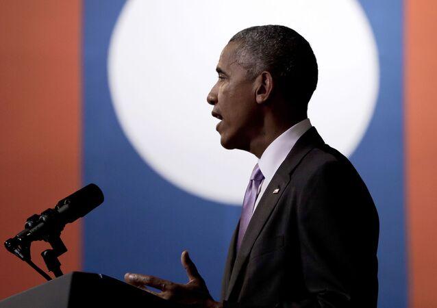 Prezydent USA Barack Obama przemawia podczas wizyty w Laosie