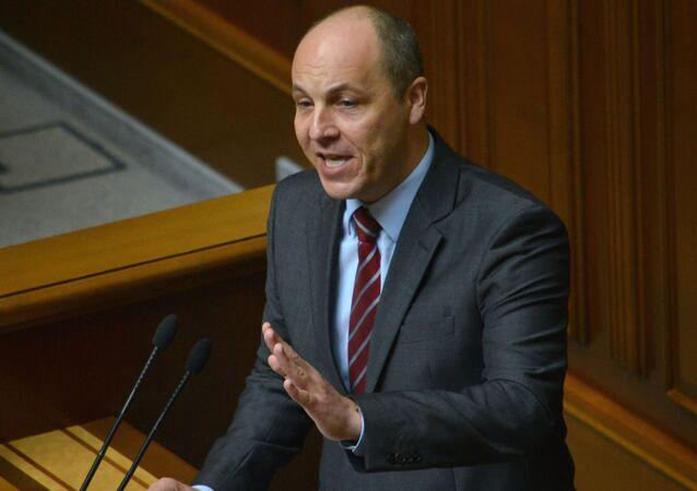 Секретарь Совета национальной безопасности и обороны Украины Андрей Парубий на заседании Верховной Рады