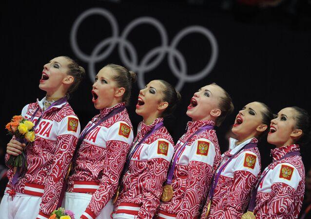 Rosyjskie gimnastki na Igrzyskach Olimpijskich w Londynie.