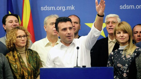 Przewodniczący Socjaldemokratycznej Unii Macedonii Zoran Zaew - Sputnik Polska