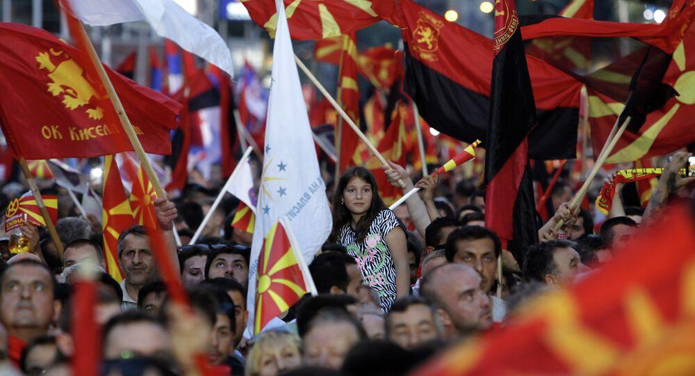 Akcje protestacyjne w Skopje, w Macedonii 18 maja 2015