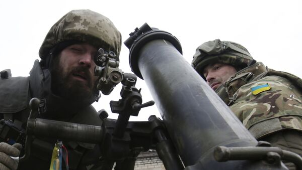 Ukraińscy żołnierze z moździerzem. Obwód doniecki. - Sputnik Polska