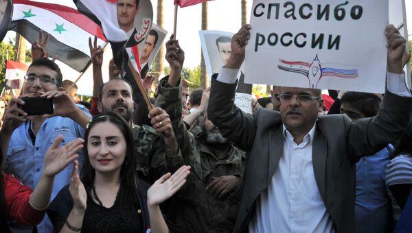 Uczestnicy spotkania w Tartusie (Syria) dla wsparcia operacji Rosyjskich Sił Powietrzno-Kosmicznych w Syrii. - Sputnik Polska