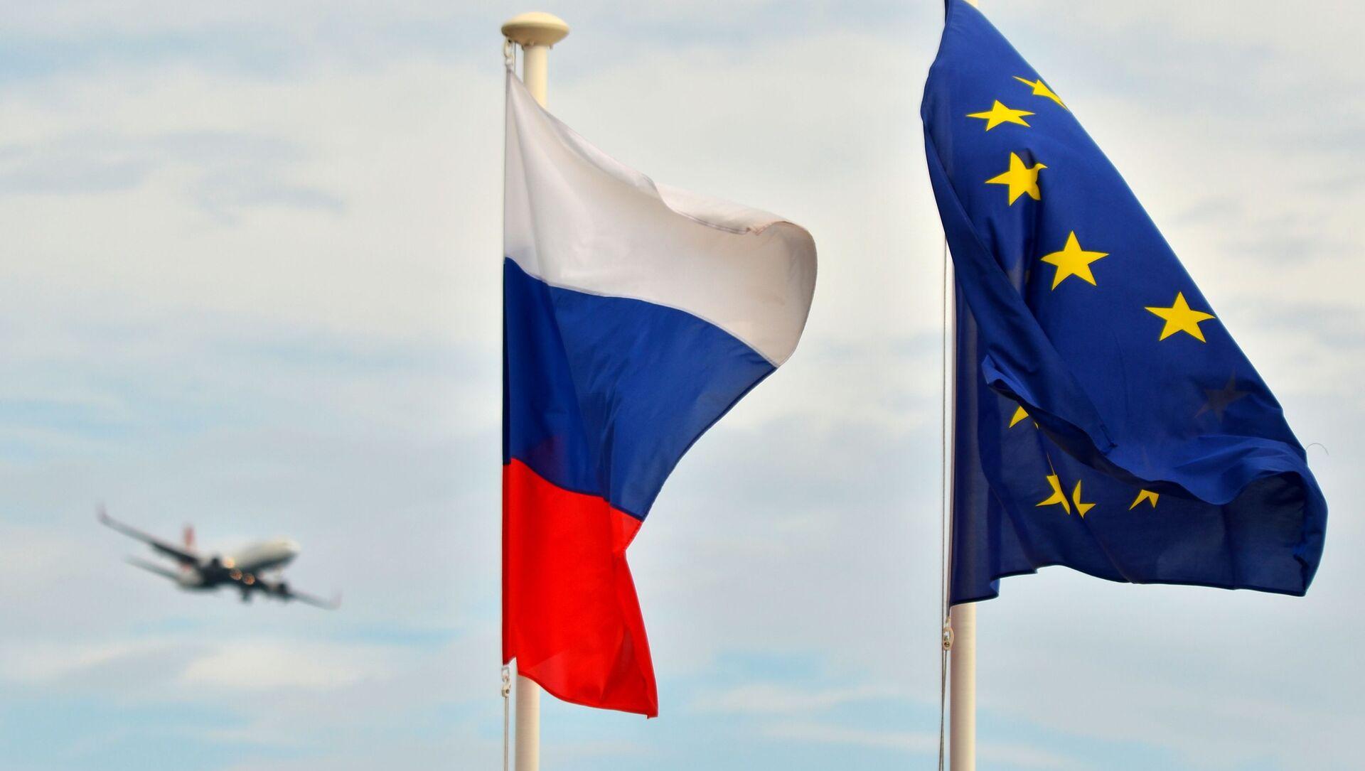 Flagi Rosji i UE w Nicei - Sputnik Polska, 1920, 25.05.2021