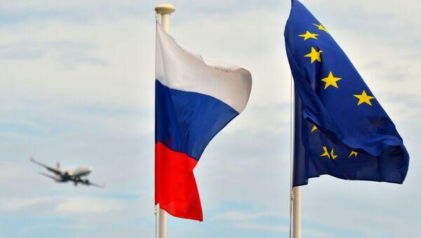 Flagi Rosji i UE w Nicei - Sputnik Polska