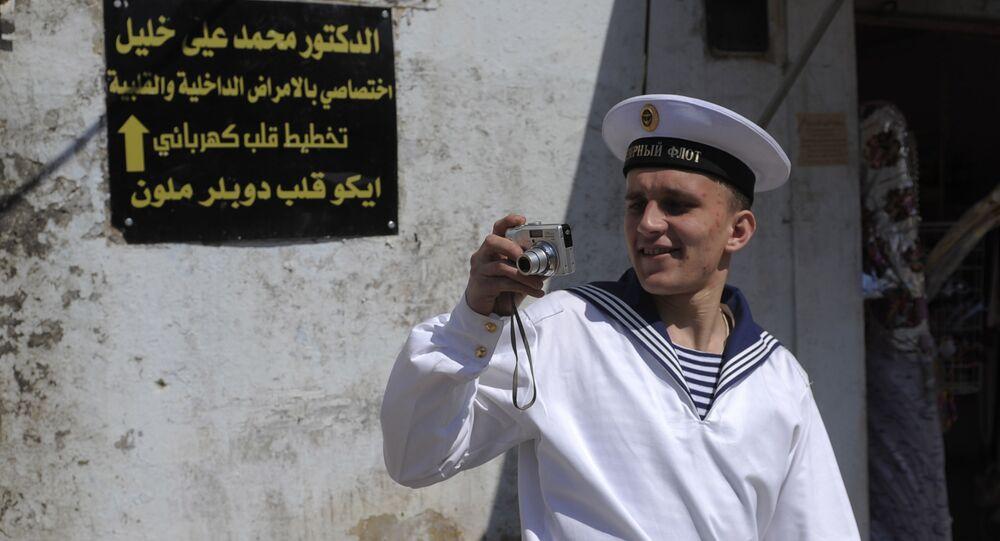 Rosyjski marynarz w syryjskim Tartusie