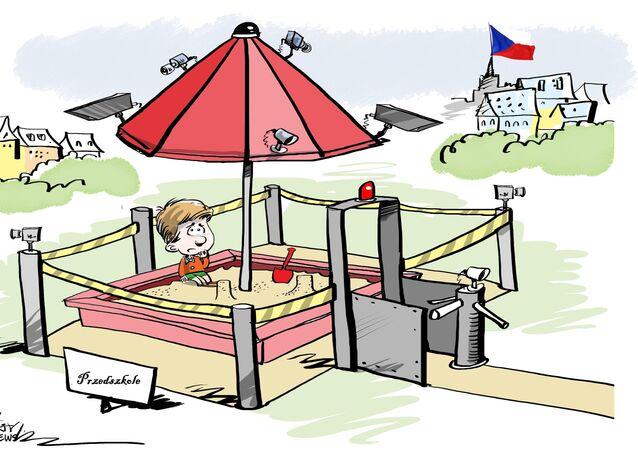 Karykatura - skanery linii papilarnych w obronie dzieci
