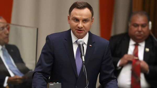 Prezydent RP Andrzej Duda podczas występu na posiedzeniu Zgromadzenia Ogólnego ONZ - Sputnik Polska