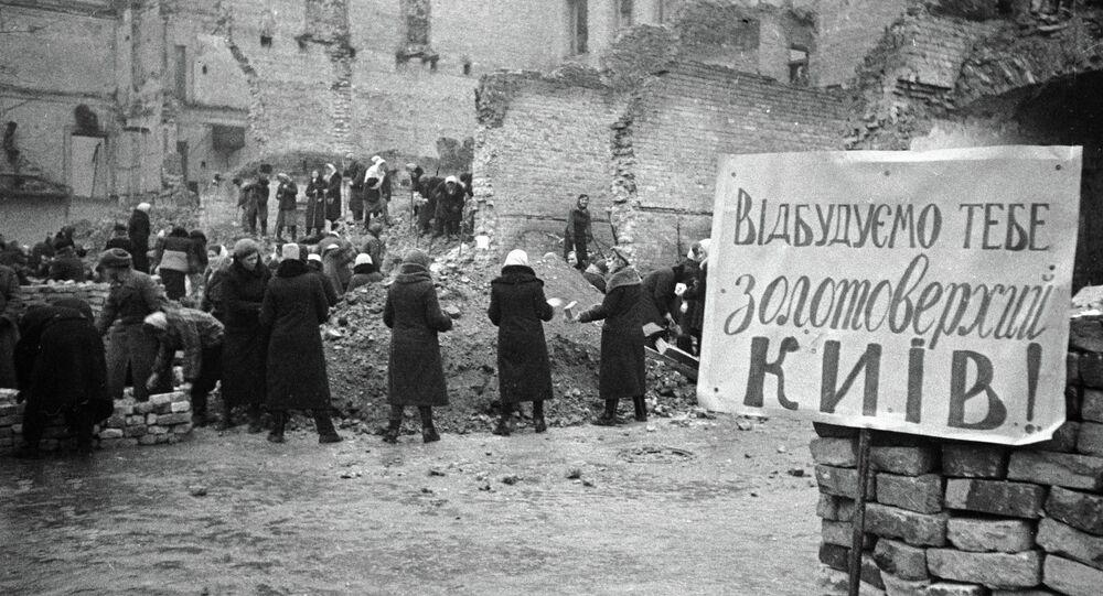 Zniszczony w czasie II wś Kijów. Zdjęcie archiwalne