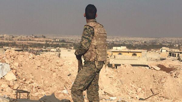 Żołnierz syryjskiej armii patrzy na Aleppo - Sputnik Polska