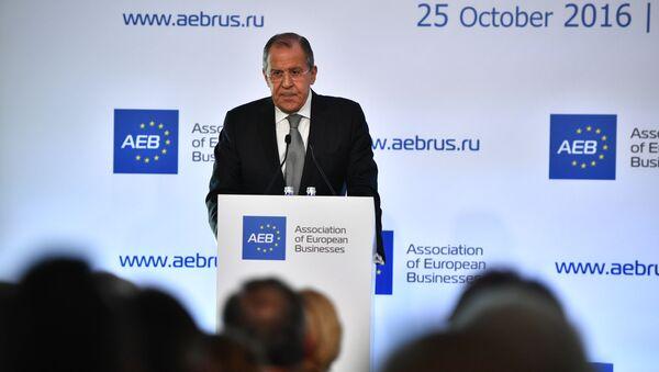 Minister spraw zagranicznych Rosji Siergiej Ławrow na spotkaniu z członkami Stowarzyszenia Europejskiego Biznesu w Moskwie - Sputnik Polska