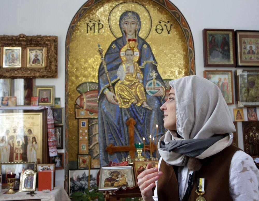 Została ona wykonana przez moskiewskich mistrzów z naturalnego kamienia. Ikona została wykonana analogicznie do mozaiki w soborze św. Sofii w Konstantynopolu.