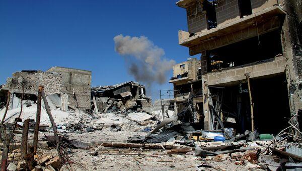 Zburzone budynki na południu Aleppo w Syrii - Sputnik Polska